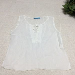 Johnny Was Soft White Sleeve Cami Style Top Sz M